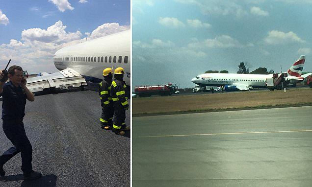 10/26/2015 - Terror on board British Airways flight as captain announces 'the landing gear has broken off' then crash lands the jet at Johannesburg airport