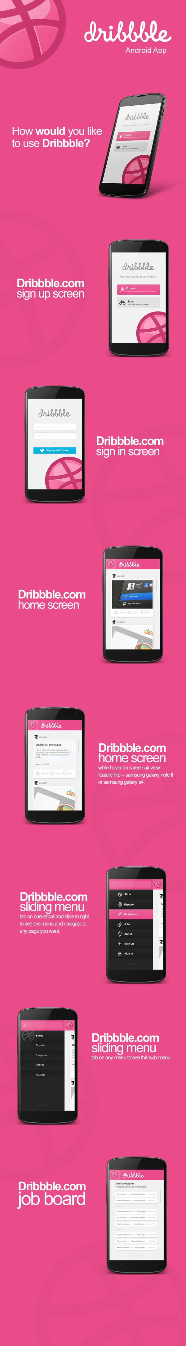Dribbble.com Android app user interface design by Moe slah, via Behance