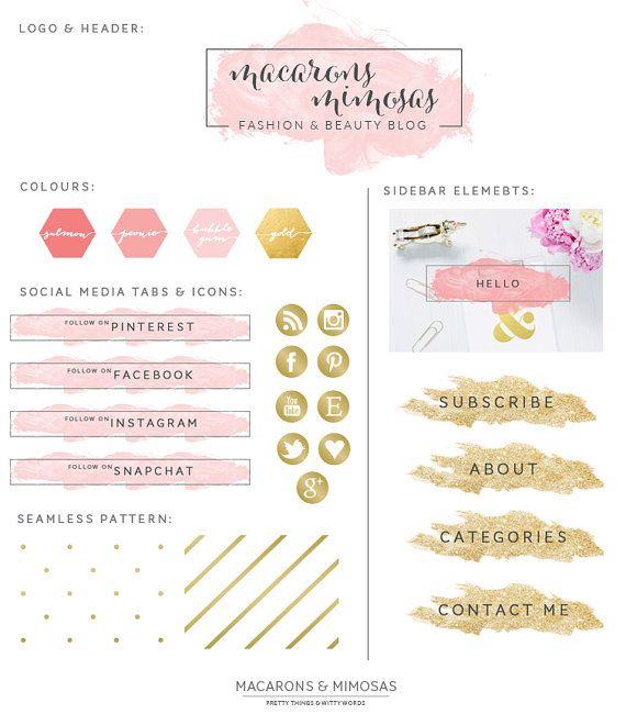 Pink Gold Glitter Boutique Logo Blog Makeover + Branding Kit + Blog Kit + Website Design Kit + Business Stationery • Watercolor Brush Stroke