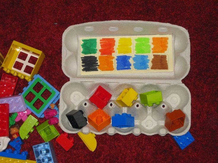 """""""Judith: Vakantie activiteiten"""", met eierdoosje, kleuren en legoblokjes. Educatief"""