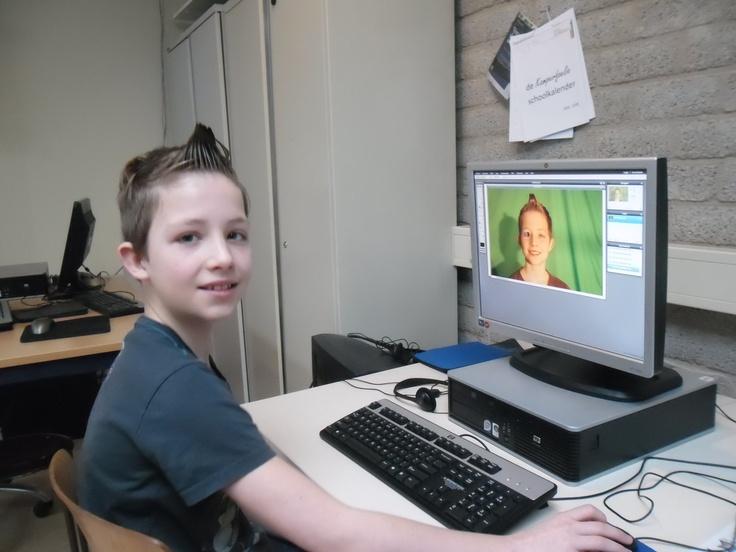 Photoshoppen van eigen portret groep 8 basisschool www.keemsocialmediatrainingen.nl