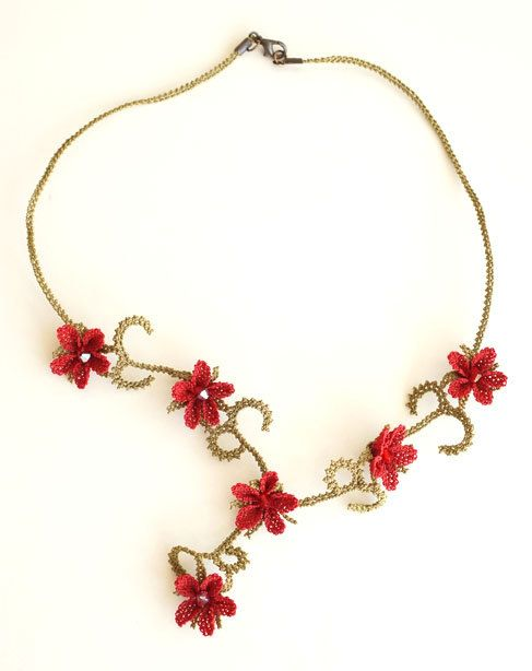 Silk needle lace igne oya necklace  little flowers by MiSTANBULcom