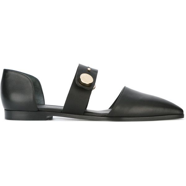 Emporio Armani cut-out loafers (£355) ❤ liked on Polyvore featuring shoes, loafers, black, emporio armani, black leather shoes, black loafers, leather shoes and leather loafer shoes