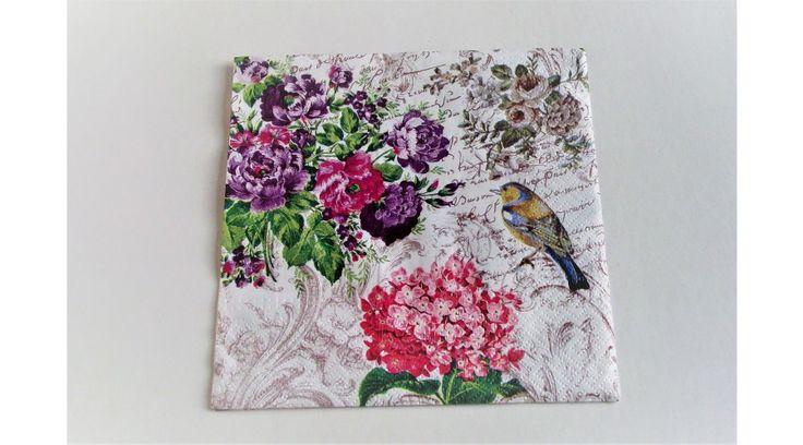 Virágos, orgonás, madaras szalvéta - KreatívHobbyDekor webáruház