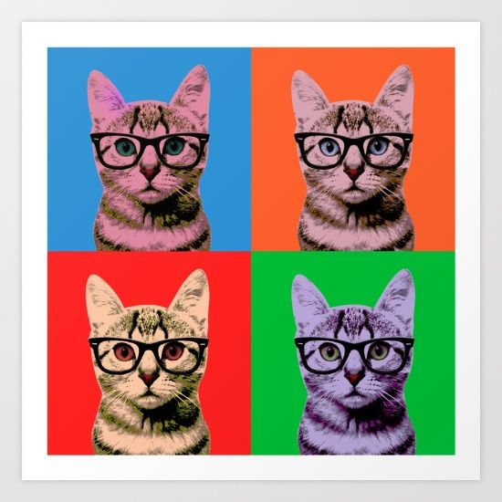 I love pop-art.  I love kittens.  I love pop-kittens or I also love kitten-art. This is the famous painting from Warhol revisited with a Hipster Kitten instead of Marylin Monroe.  Purr.
