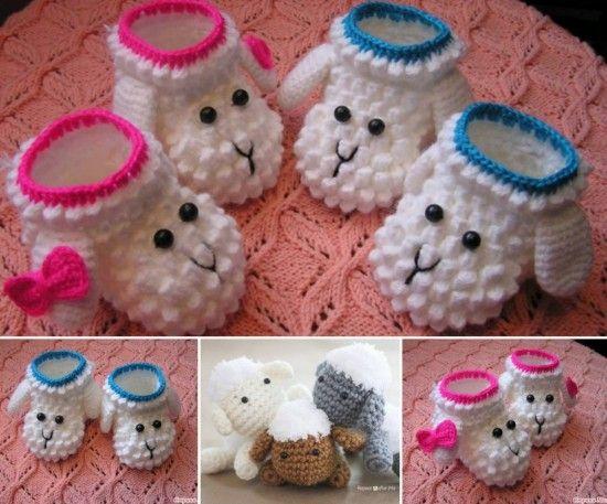 Gehäkelte Schäfchen-Babyschuhe (mit Anleitung eines Schäfchenmotiv - ideal als Applikation für passende Mütze)