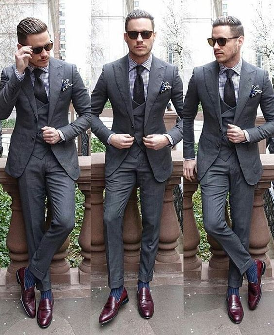 Stylish Men Slim Fit Formal Groom Suits Two-Button Suits Set Jacket Casual Pants…