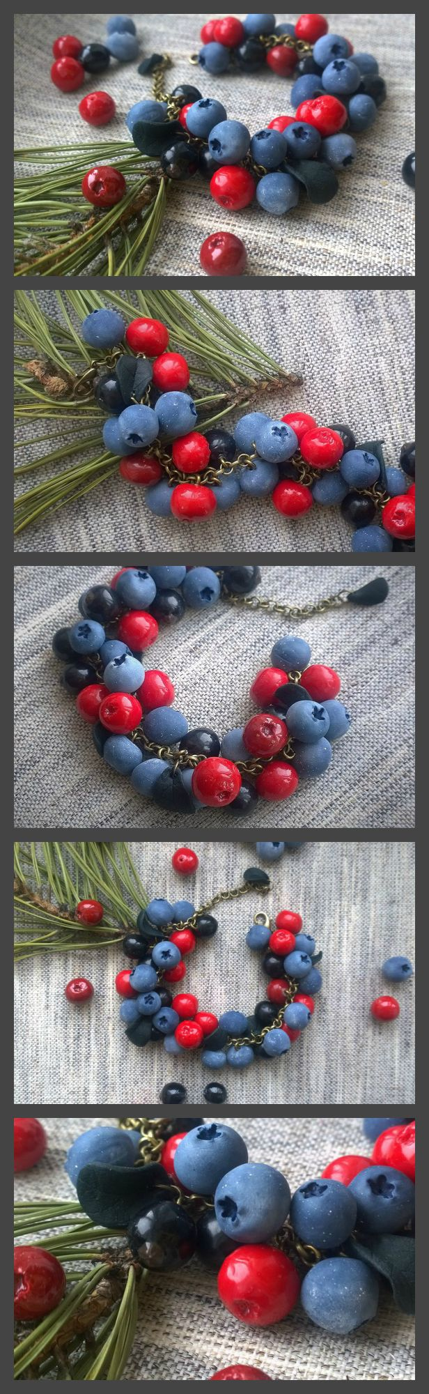 Bracelet with berries of blueberries, cranberries and black currant  - Blueberry - Cranberry - Polymer clay - Berry bracelet #berries #berry #polymerclay #blueberry #currant #blackcurrant #cranberry #lingonberry #forest #pine #blue #red #black #handmade #fimo #fimoclay #clayberry #premo #sculpey #bracelet #etsy #instajewelry