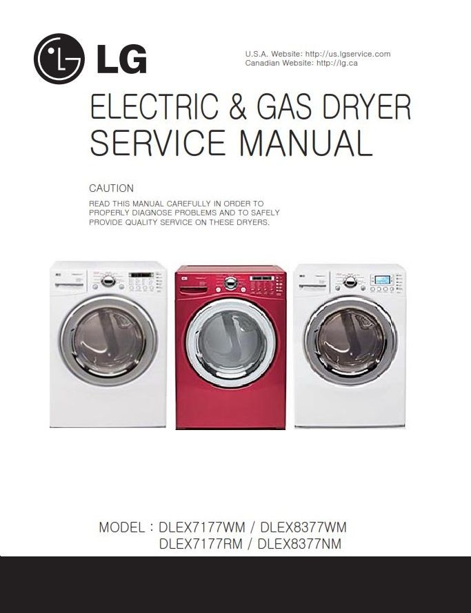 Lg Dlex7177wm Dlex8377wm Dlex7177rm Dlex8377nm Dryer Service Manual Appliance Repair Shop Manual Appliance Repair