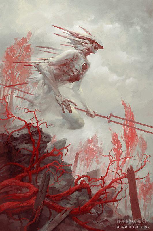 Gadreel, Angel of War, Peter Mohrbacher on ArtStation at https://www.artstation.com/artwork/gadreel-angel-of-war