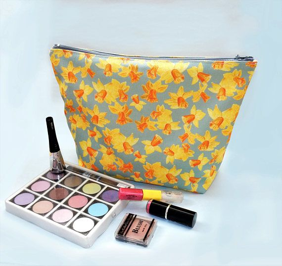 Daffodil makeup bag  large grey cosmetics bag  daffodil gift