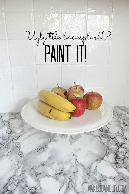 painted tile backsplash-cover those ugly tiles! www.makedoanddiy.com