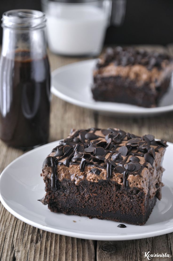Chocolate Poke Cake - chocolate cake with condensed milk filling and chantilly cream