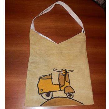 Sacca color beige, foderata, linea arte Zavalloni Borsa stampata a mano in Italia nella storica bottega Pascucci (Gambettola) Hand-printed bag, made in Italy in the typical ancient workshop 'Pascucci' - since 1826