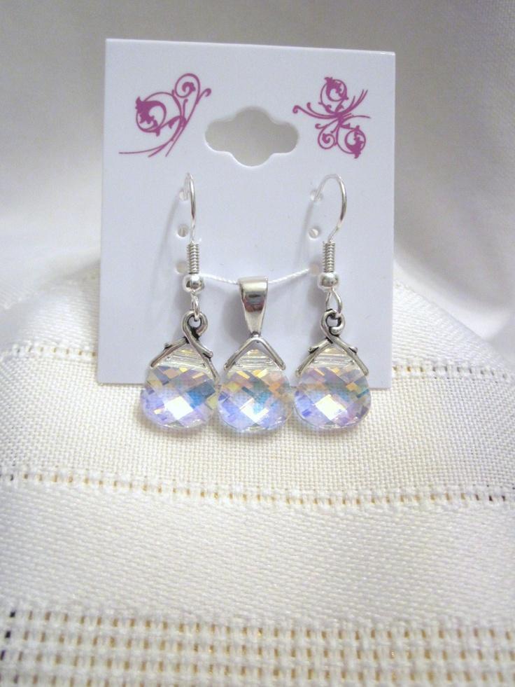 Simply Elegant - Swarovski Crystal Flat Briolette Pendant and Earring Set in Crystal AB, Perfect for a Wedding, Bridesmaid, Birthdays. $34.50, via Etsy.