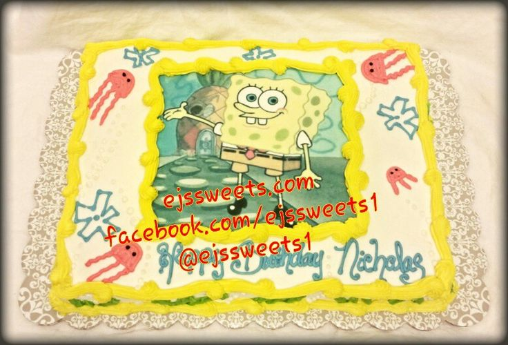 A single layer 1/2 sheet, vanilla cake, frosted with butter cream frosting, with an edible image of SpongeBob SquarePants. #ejssweets #cakesinmcdonough #customcakes #birthdaycakes #spongebob #spongebobcake #sheetcakes