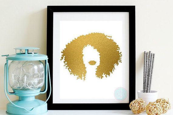 PRINTABLE ART Gold Foil Afrocentric Artwork African American Woman Poster Natural Hair Art Woman Of Color Gold Wall Hanging Hair Salon Art
