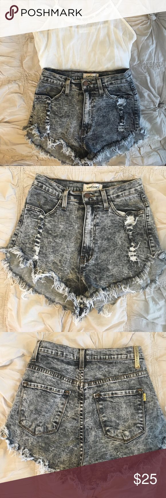High Waisted Shorts High Waisted Acid Wash Shorts. More of a gray/black acid wash. So cute with any summer outfit!! Hardly worn, great condition. From Apricot Lane Peoria. Vibrant Shorts Jean Shorts