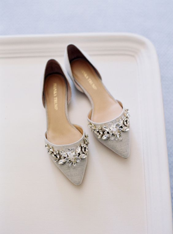884fbdfa6717ab dove grey pointed toe jeweled flats to sparkle shoes  wedidngshoes  weddings   wedidngideas