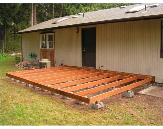 How to build a deck using deck blocks stains the old for Timber deck construction
