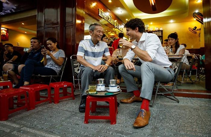 Vietnamese coffee:  Canadian Prime Minister Justin Trudeau enjoying Saigon sour milk coffee in Vietnam in Nov, 2017. This coffee shop has become famous and attracts many guests after he visit.