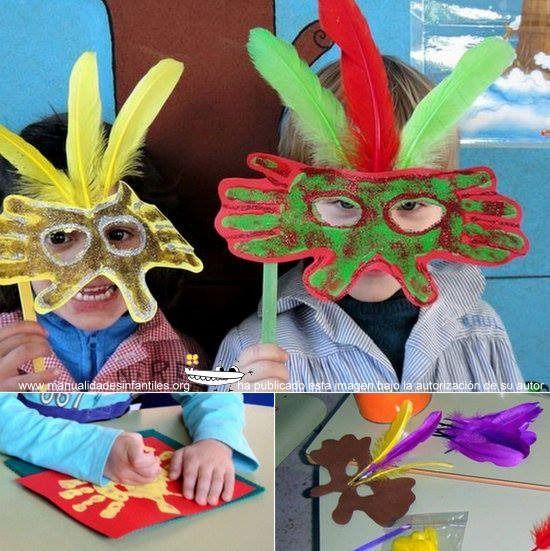 Hoy os voy a mostrar unas Máscaras Venecianas de la Profe Nai muy fáciles de hacer con los niños pequeños. Están hechas con las manos, cartulinas y unas plumas de colores para darle un toque mas de Carnaval. MATERIALES NECESARIOS...