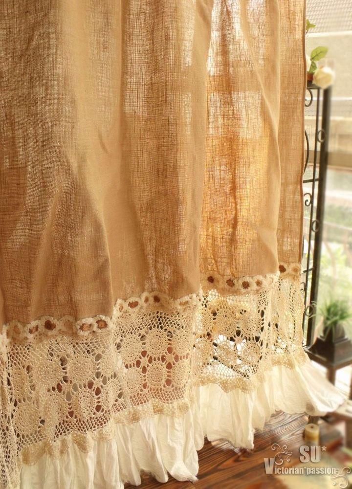 Bohemian Hand Crochet - SHABBY Rustic Chic Burlap SHOWER Curtain ruffle ROSETTE | eBay