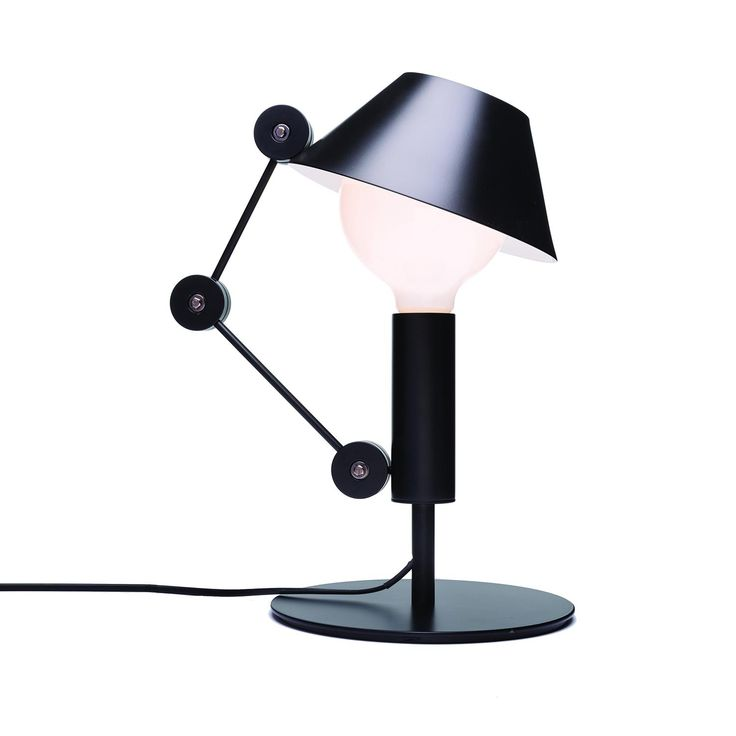 MR. LIGHT SHORT Table and floor lamp, with floating arm and body in matt black metal. Two-coloured diffuser, with matt white inner part, for a widespread light. Light output in the upper part can be reduced thanks to the hat covering.