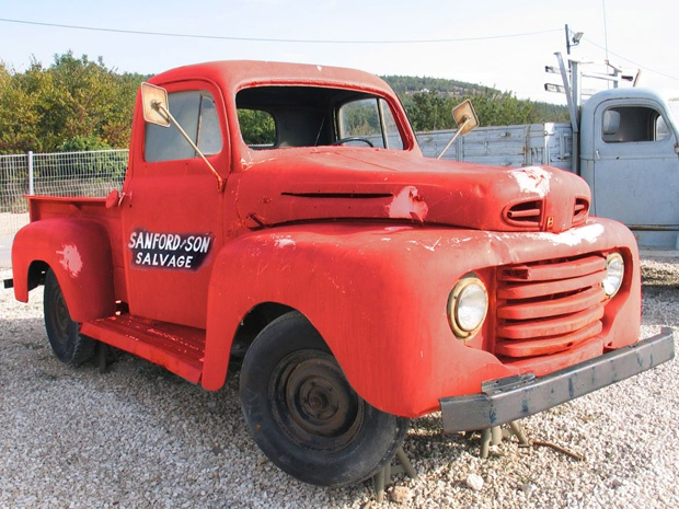 Red 1950s Ford F-1 pickup: friend's 'truck' a virtual steal. My friend is very particular about the vehicle he would never drive. It wouldn't be a car but a pickup truck like the one in the opening credits of the old Sanford and Son TV series #ford