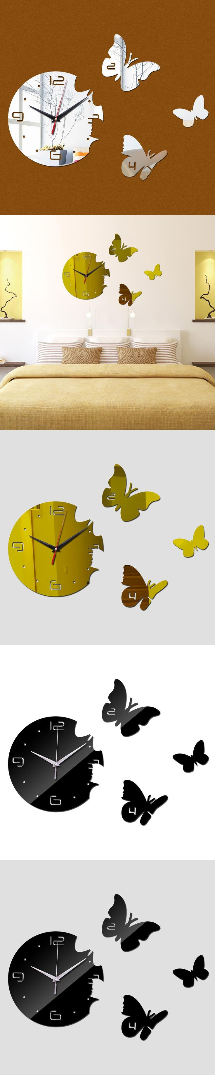 Best 25 large decorative wall clocks ideas on pinterest large free shipping new flying butterflies wall clock creative design home decor big mirror 3d diy large amipublicfo Image collections