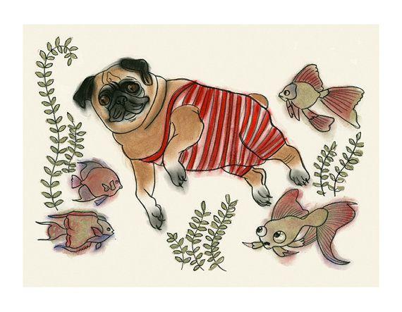 Perro Perro Pug de pared arte Arte imprime  Pascal natación
