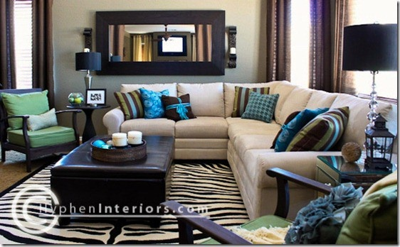I Like The Dark Brown Throughout This Room And The Pops Of Bold Colors Brown Living Room Decor Blue And Green Living Room Family Room