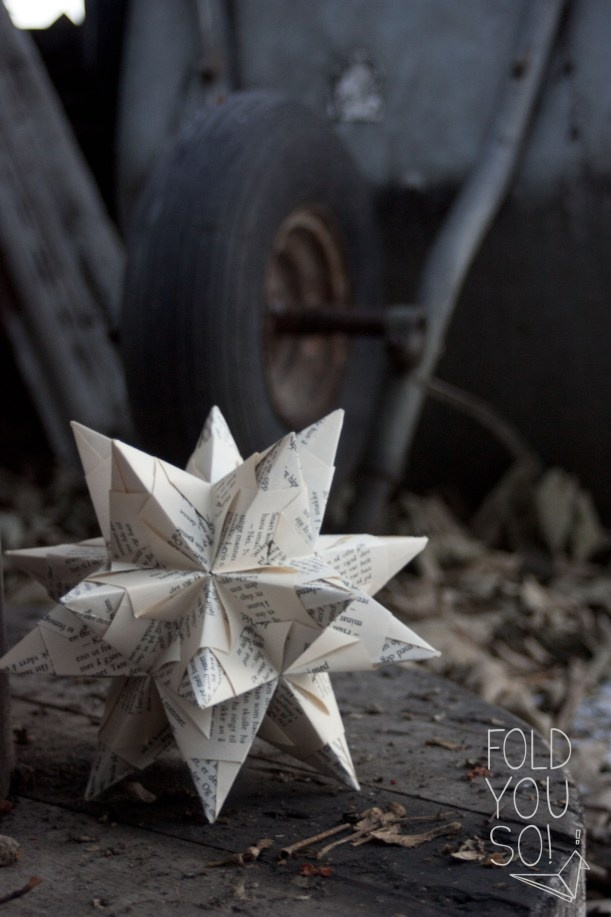 Origami star made from book pages