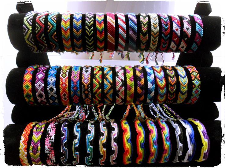 Assortment of friendship bracelet in many patterns.
