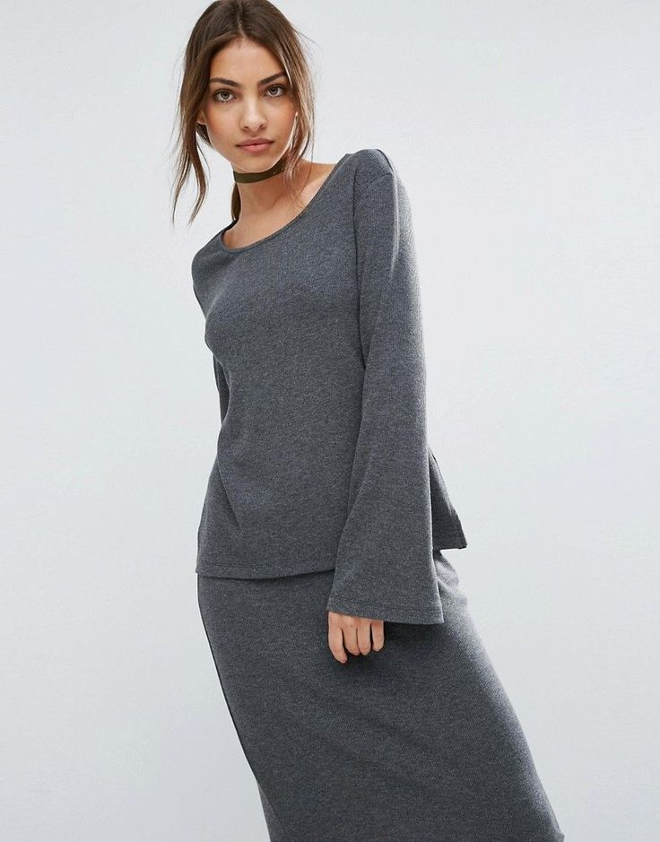ASOS LOUNGE Ribbed Long Sleeve Flared Tunic - Gray