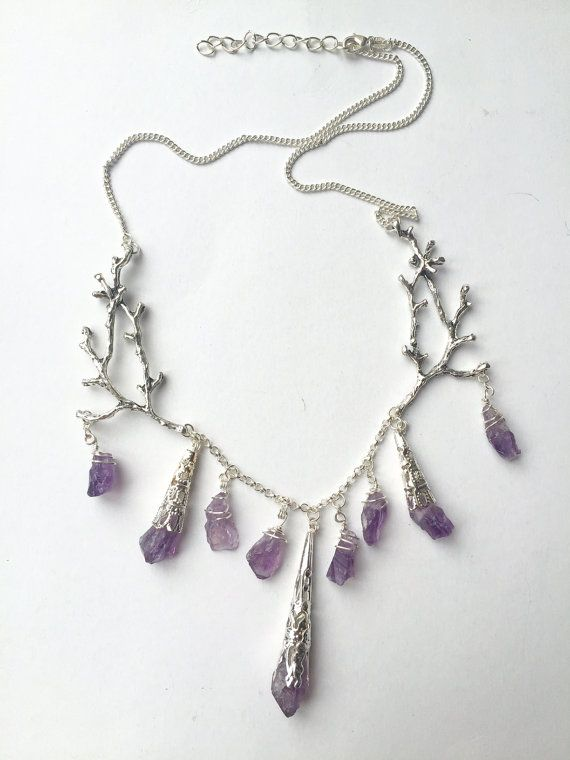 The ELVIRA Necklace  Branch Antler Amethyst by HowlingMoonUK