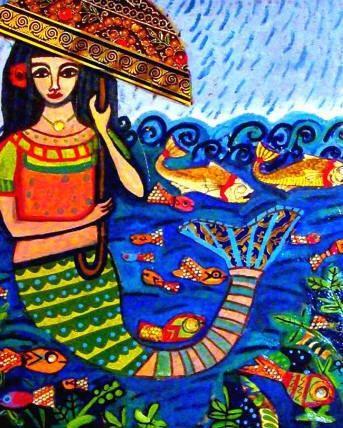50% Off - Mermaid Art Print Mexican Folk Art Poster Painting fish koi (HG619)