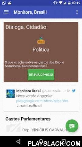 Monitora, Brasil!  Android App - playslack.com ,  ***2º Colocado no Hackathon realizado pela Câmara dos Deputados em 11/2013***-Estadão Política http://politica.estadao.com.br/noticias/geral,para-lembrar-do-seu-voto,1590649-UOL http://eleicoes.uol.com.br/2014/noticias/2014/08/27/veja-10-sites-e-aplicativos-que-podem-ajudar-a-escolher-seu-candidato.htm-TechTudo http://www.techtudo.com.br/tudo-sobre/s/monitora-brasil.html-ShowMeTech…
