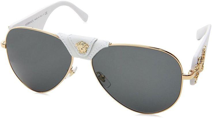 Authentic Italy Versace Sunglasses Men Pilot Aviator /Grey Metal Luxury Eyewear  #Versace #Pilot