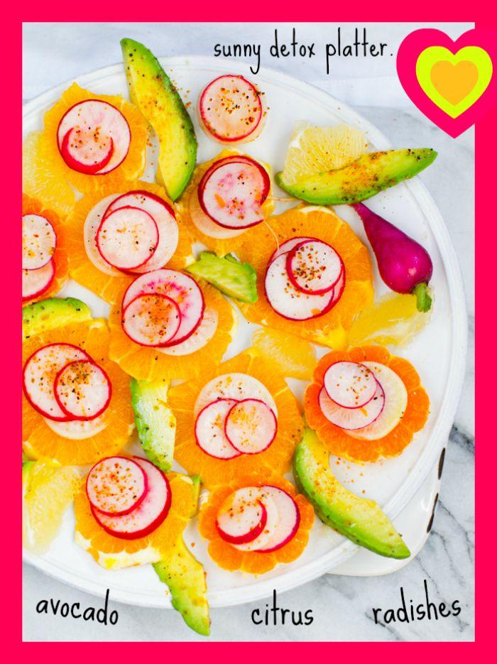 """Sunny Citrus Radish Avocado """"Detox"""" Platter. Feel better."""