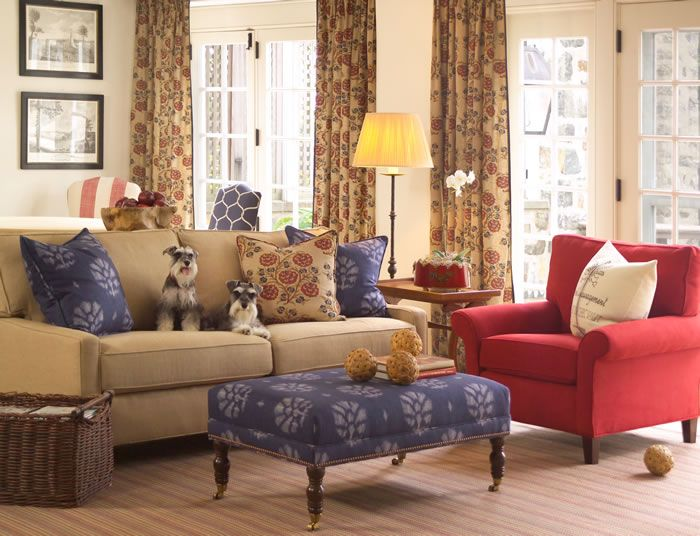hearth roomDecor Ideas, Chic Fabrics, Tv Room, Livingroom, Fabrics Collection, Living Room, Calico Corner, Camel Red, French Chic