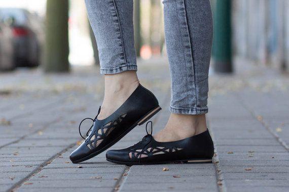 Zwart lederen schoenen, lederen Flats, zwarte knipsel lederen schoenen, zomer schoenen, gratis verzending