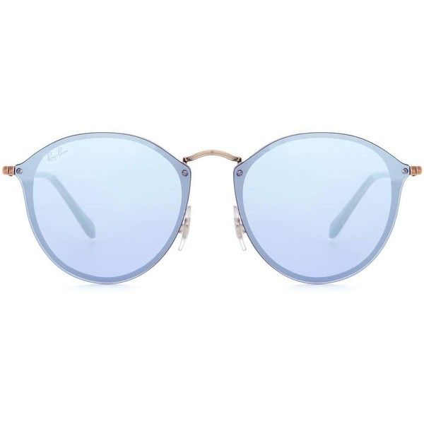 Ray-Ban RB3574 Blaze Round Sunglasses ($215) ❤ liked on Polyvore featuring accessories, eyewear, sunglasses, blue, ray ban eyewear, rounded sunglasses, round frame glasses, ray ban sunnies and rounded glasses