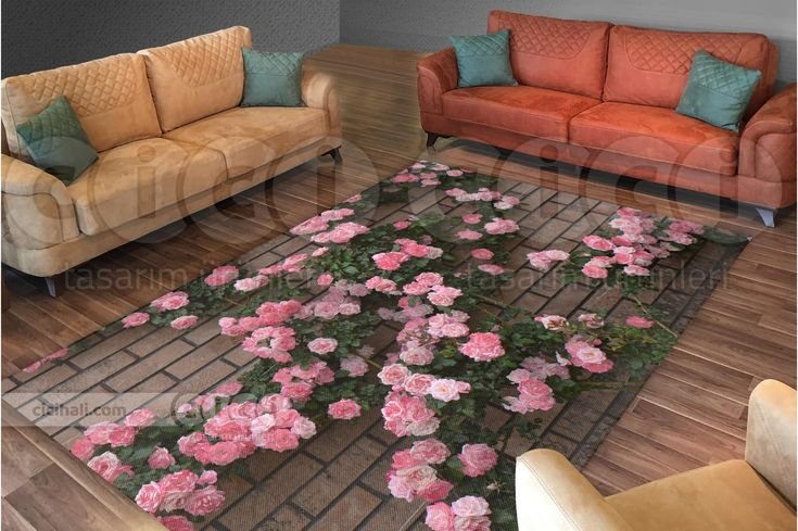 Tuğla Duvar Üzerinde Pembe Güller Halı Örtüsü - Halı Nevresimi