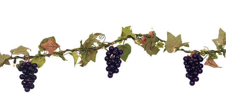Tuscan Winery Grape Cluster Artificial Christmas Garland with Lights