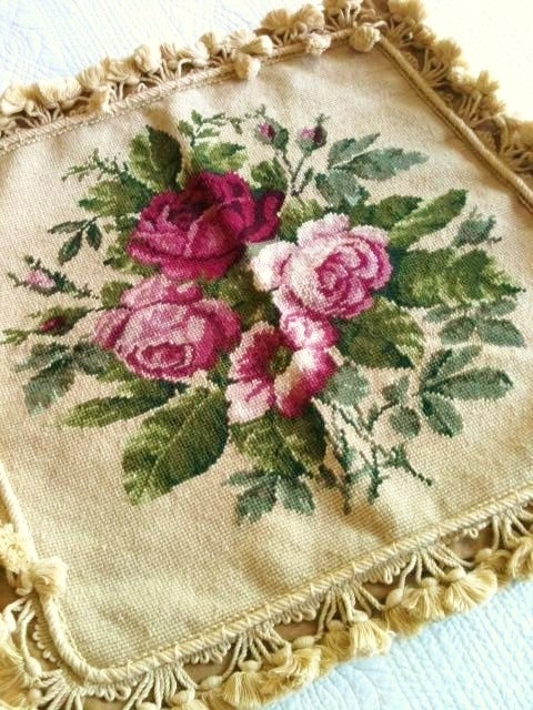 Vintage Shabby Chic Oversized Rose Needlepoint Tasseled Pillow Cover, Romantic Home, Olives and Doves via Etsy.