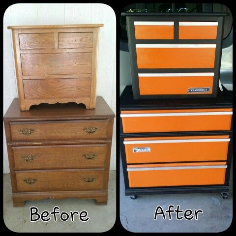Old chest and nightstand redo converted to toolbox chest for boys auto themed bedroom. #madscatters