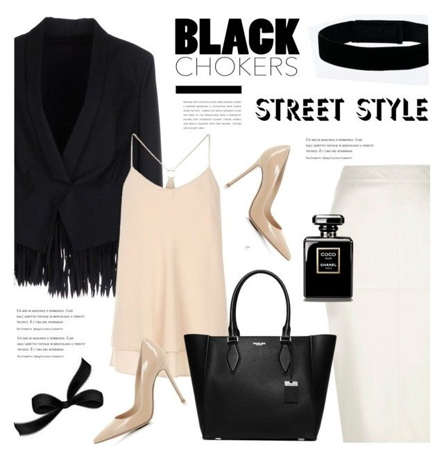 Black chokers street style by cly88 on Polyvore featuring polyvore fashion style Brunello Cucinelli River Island Gianvito Rossi Michael Kors Urban Renewal clothing StreetStyle StreetChic streetstyleinspiration styleonthestreet blackchokers