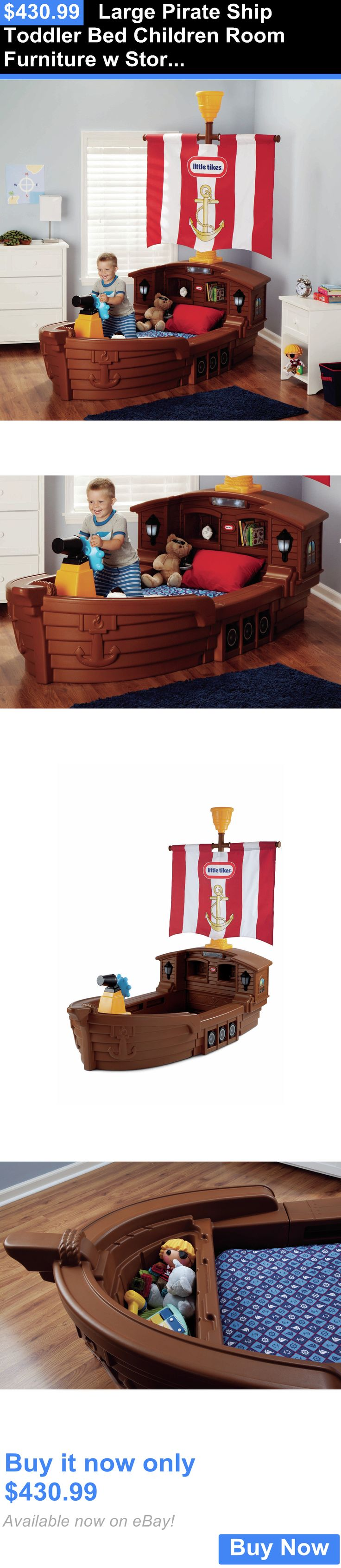 Kids Furniture: Large Pirate Ship Toddler Bed Children Room Furniture W Storage Kids Bedroom Usa BUY IT NOW ONLY: $430.99