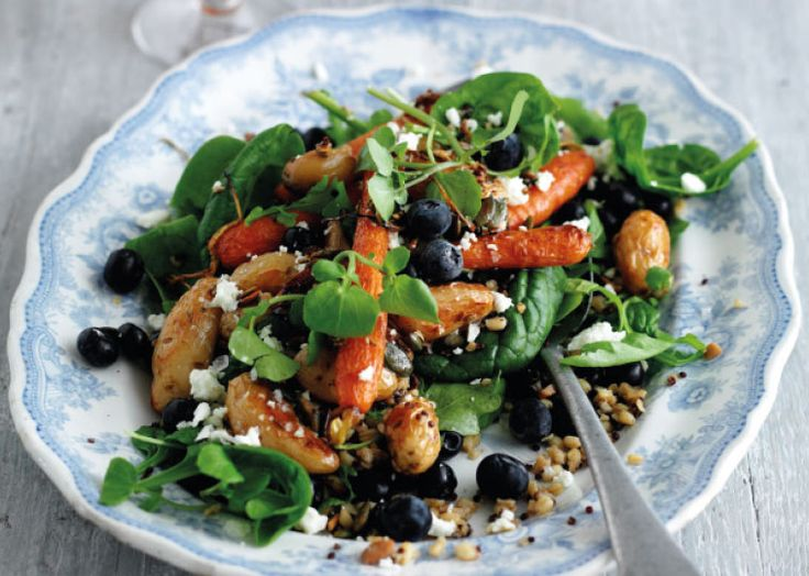 Mixed grain salad with blueberries, roast carrots and new potatoes. Follow link for full recipe from Appetite Magazine.